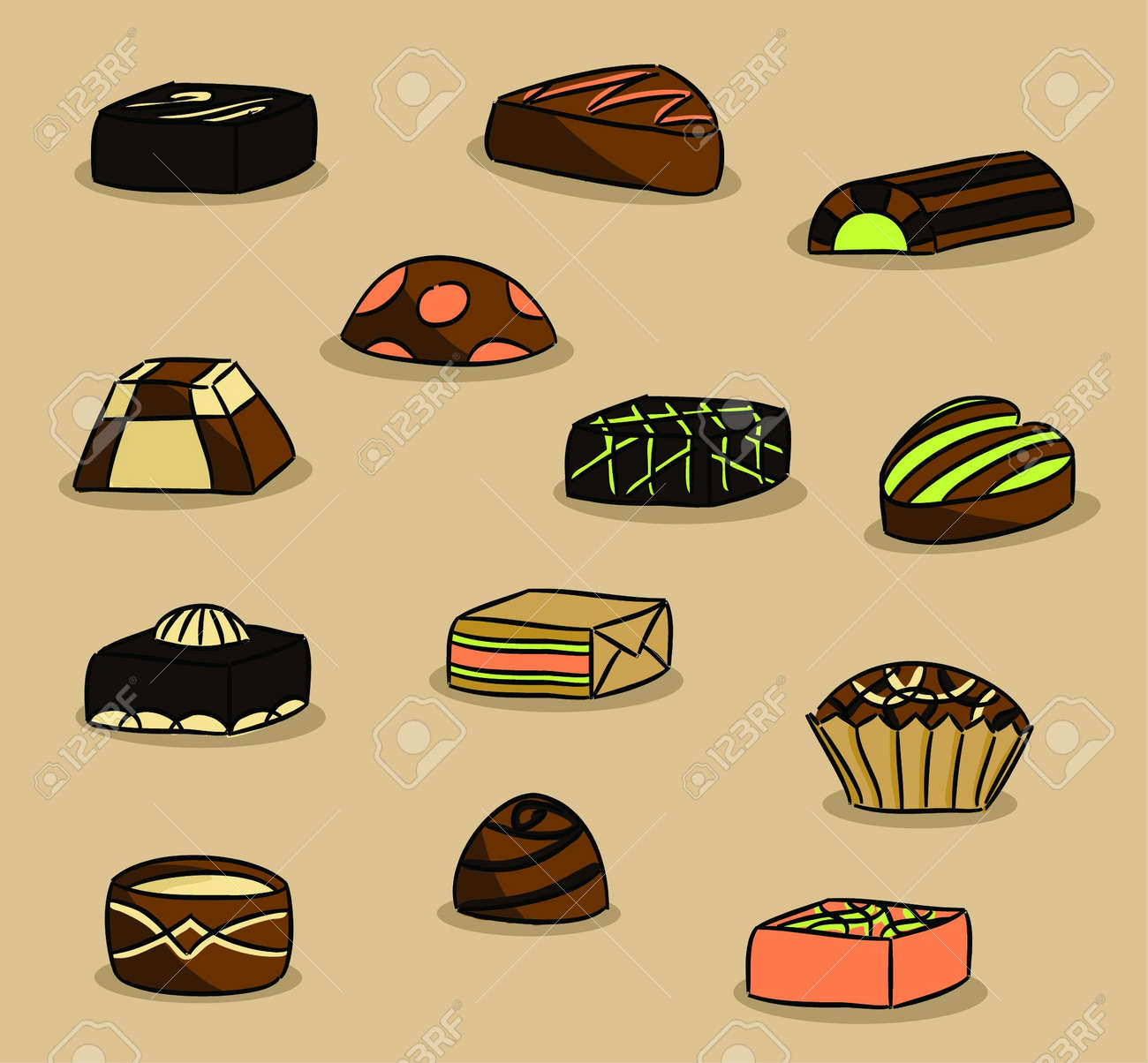 Various Types Of Chocolate (vector) Royalty Free Cliparts, Vectors ...