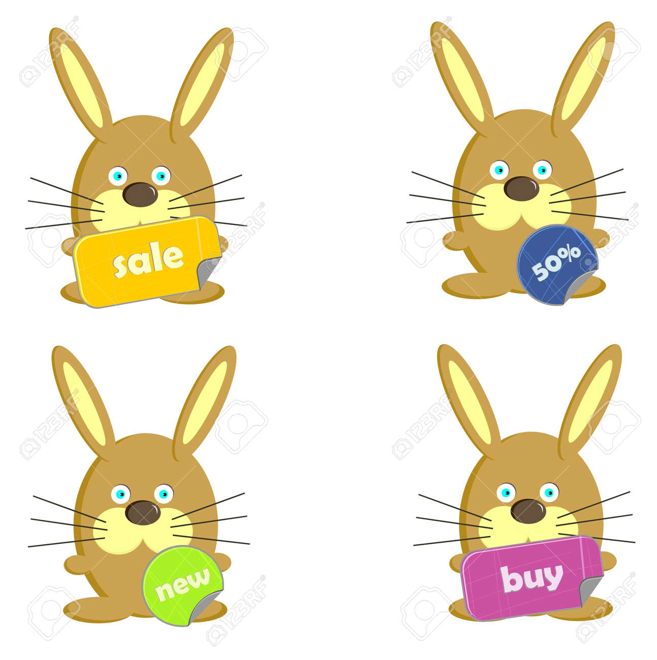 Cute rabbits with shopping signs (vector) Stock Vector - 18051654