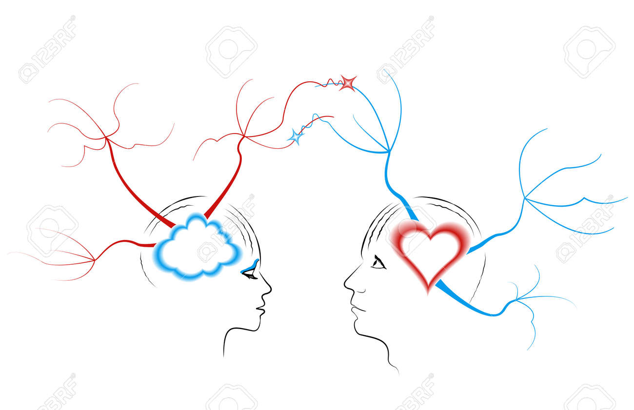 Abstract drawing a young couple related thoughts  The concept of mind maps Stock Vector - 19407226