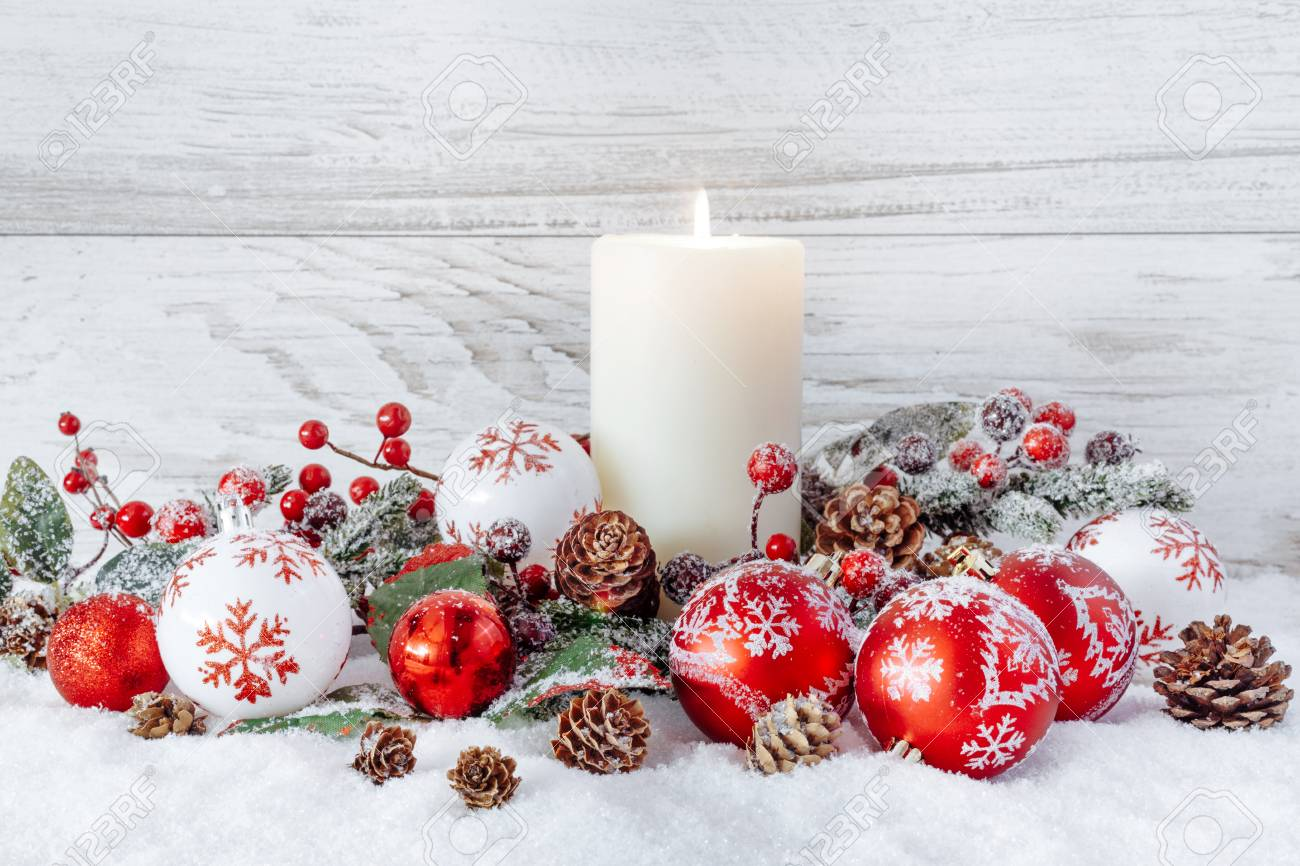 White Burning Candle With Christmas Decorations Stock Photo, Picture ...