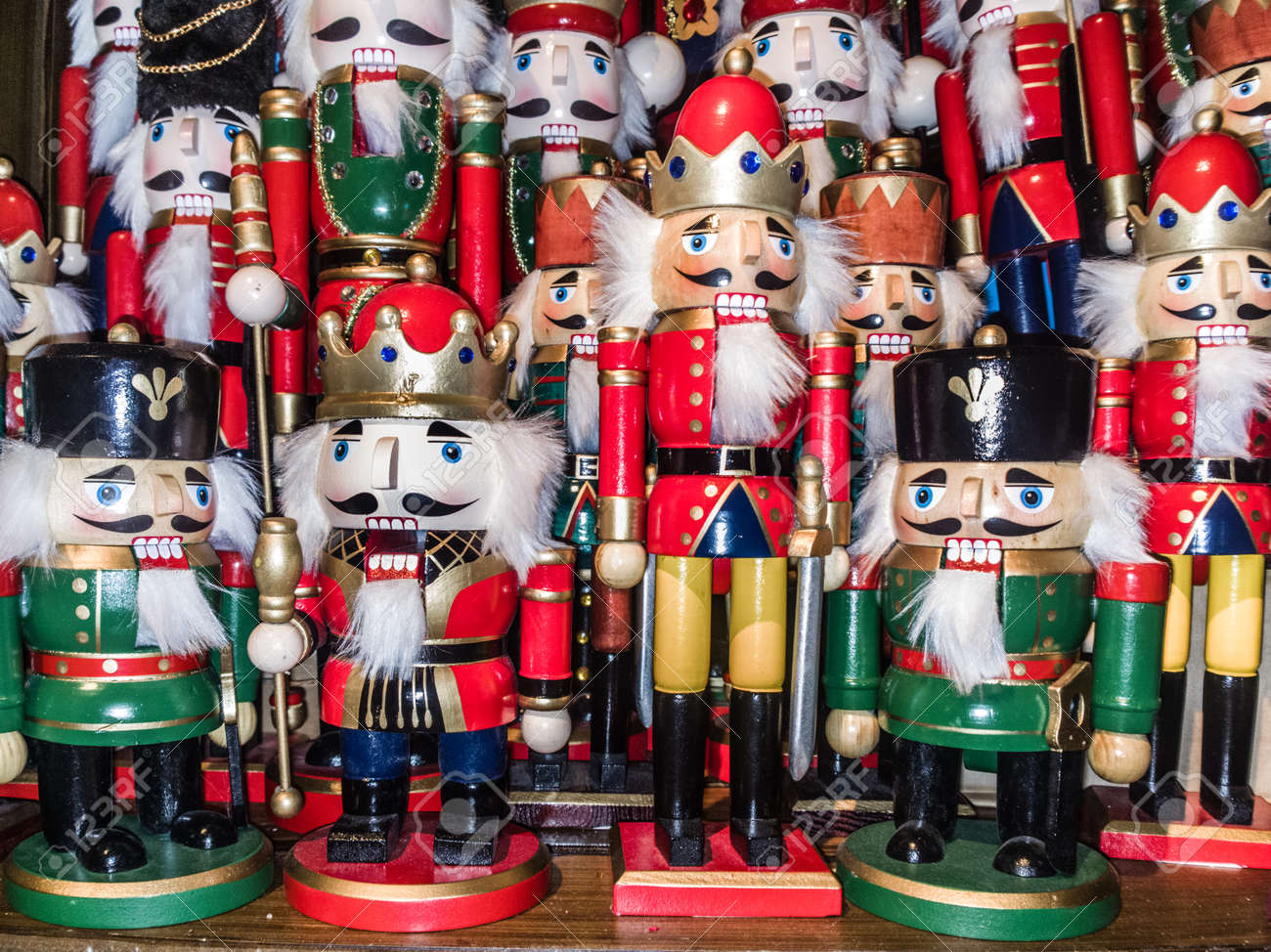 christmas nutcracker toy soldier collection various traditional christmas nutcrackers stand together as decoration stock photo