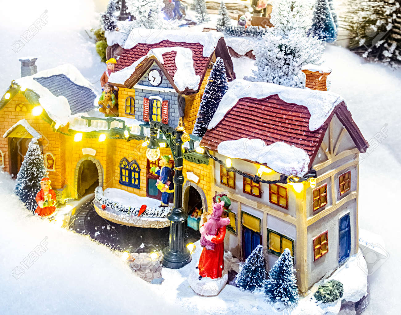 Miniature Christmas Village Scene Christmas Decorations Toys Stock