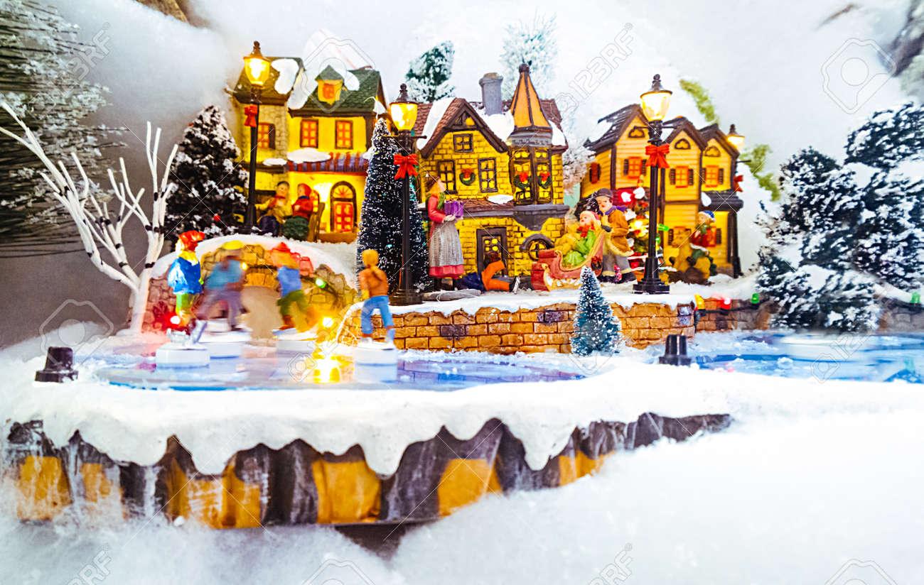 Christmas Village.Miniature Christmas Village Scene Christmas Decorations Toys