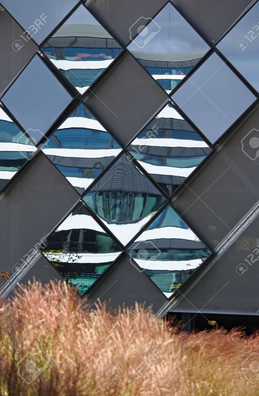 Diamond Shaped Mirror Panels On An Exterior Wall Reflecting The Stock Photo Picture And Royalty Free Image Image 116308143