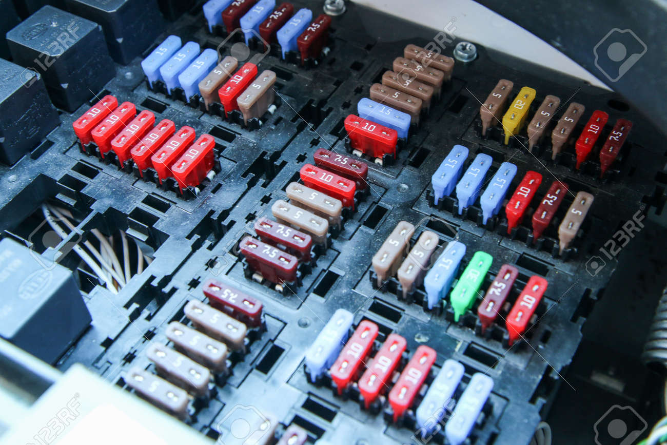 The Detail Of The Fuse Box In The Car´s Engine Room. Many Fuses.. Stock  Photo, Picture And Royalty Free Image. Image 121472550.123RF.com