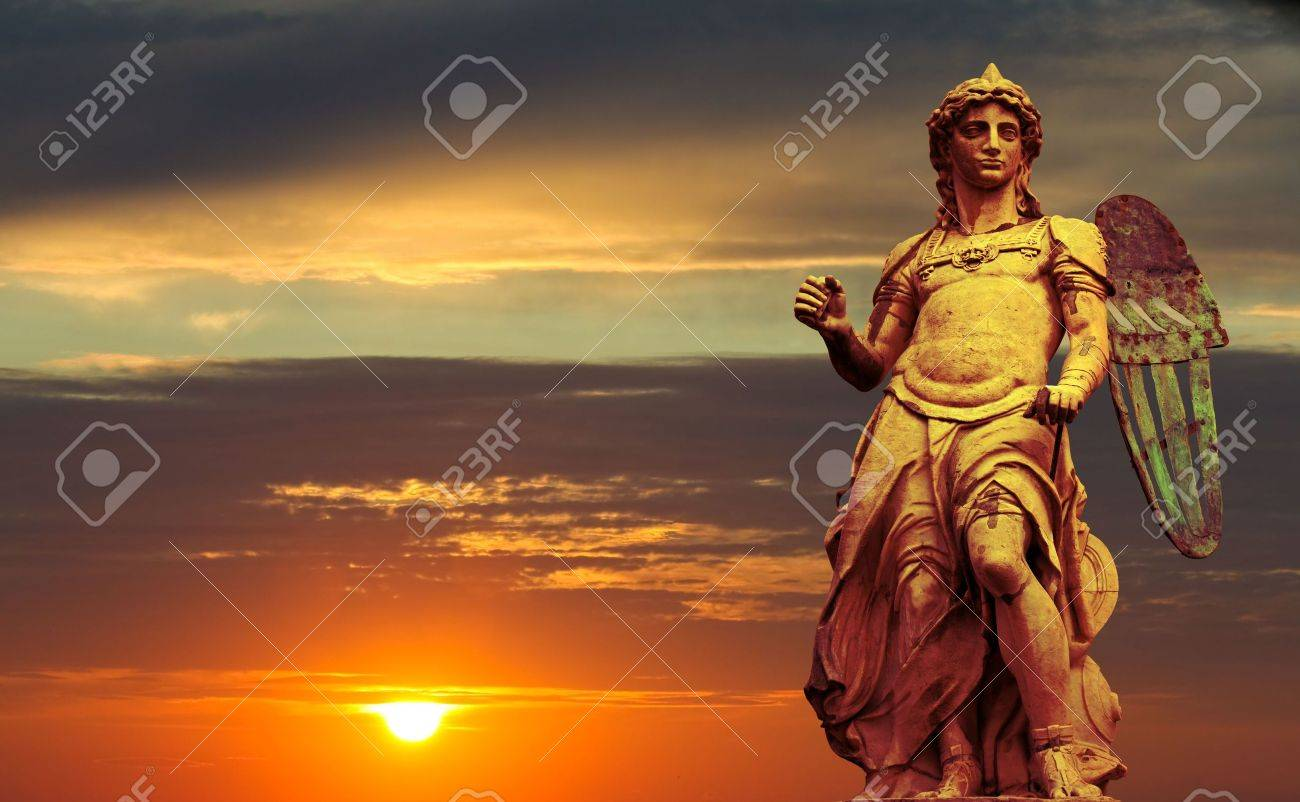 Arts series. The statue of the St. Michael sculpted by Raffaello Da Montelupo. It stands in Castel Sant'Angelo - Rome. Legend holds that Saint Michael appeared atop Castel Sant�Angelo to herald the end of a massive plague that swept through Rome in 500AD. Stock Photo - 6737271