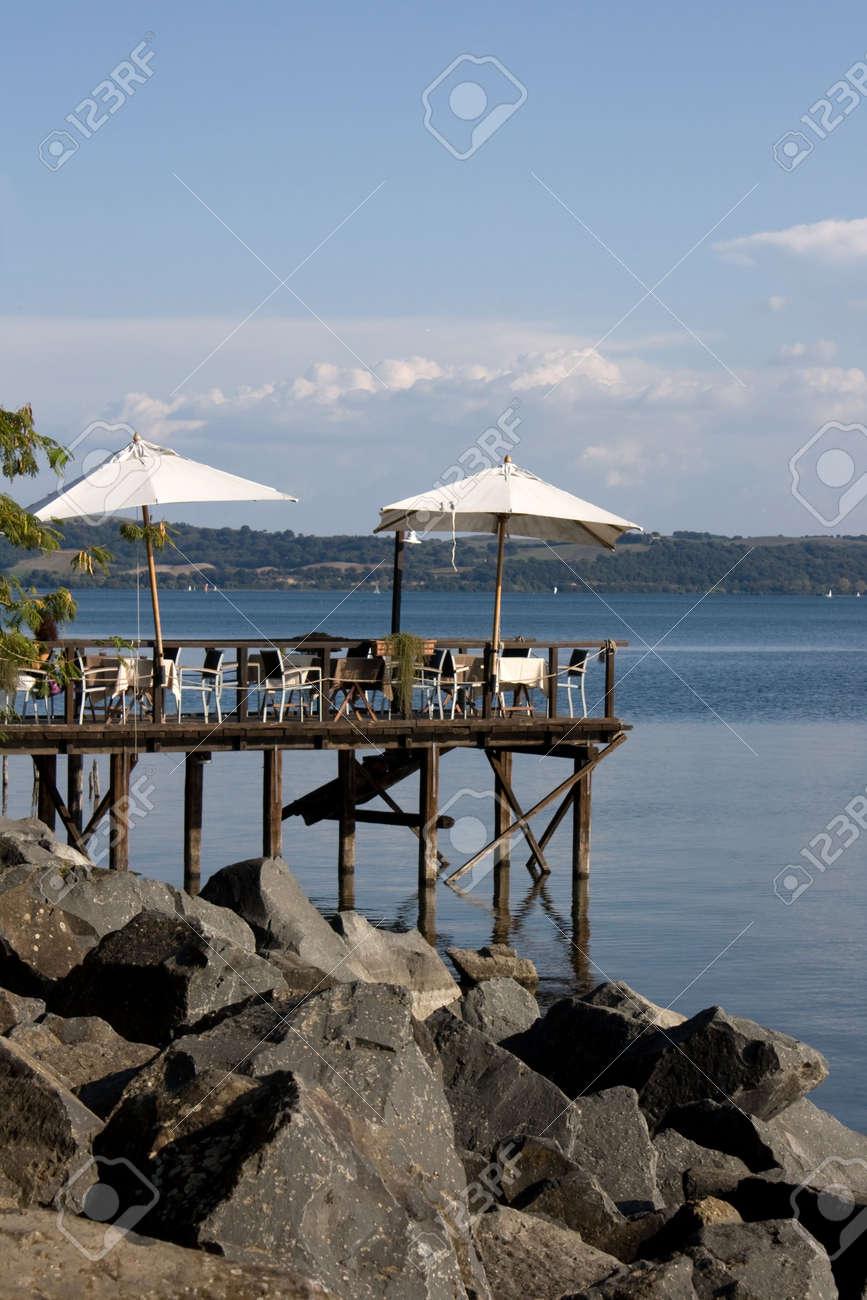 Travel Series - Italy. Terrace On The Lake Bracciano Lake, Lazio ...
