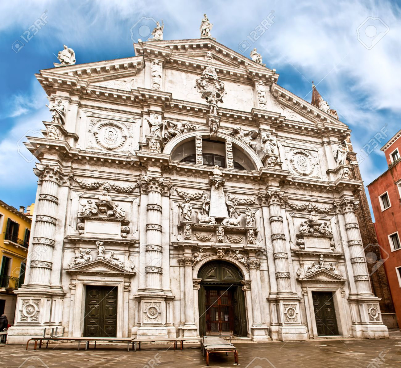 the beautiful baroque style church of san moise in venice, italy