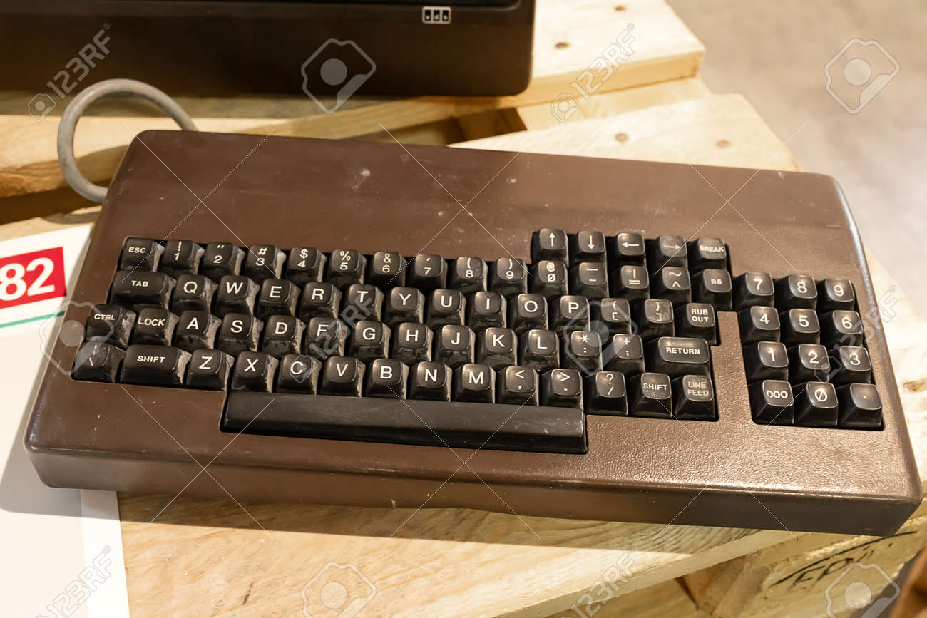 ROME, ITALY - APRIL 27, 2019: Keyboard of Eco1 computer produced