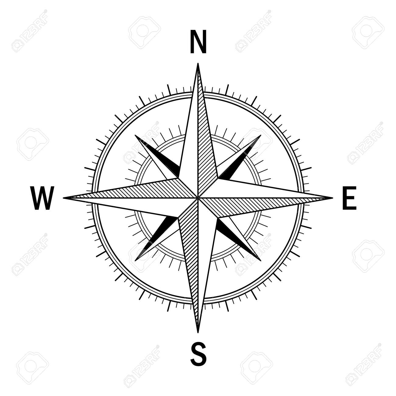 Vector image of the Wind Rose. Easy recolor. Ideal for drawings,.. on