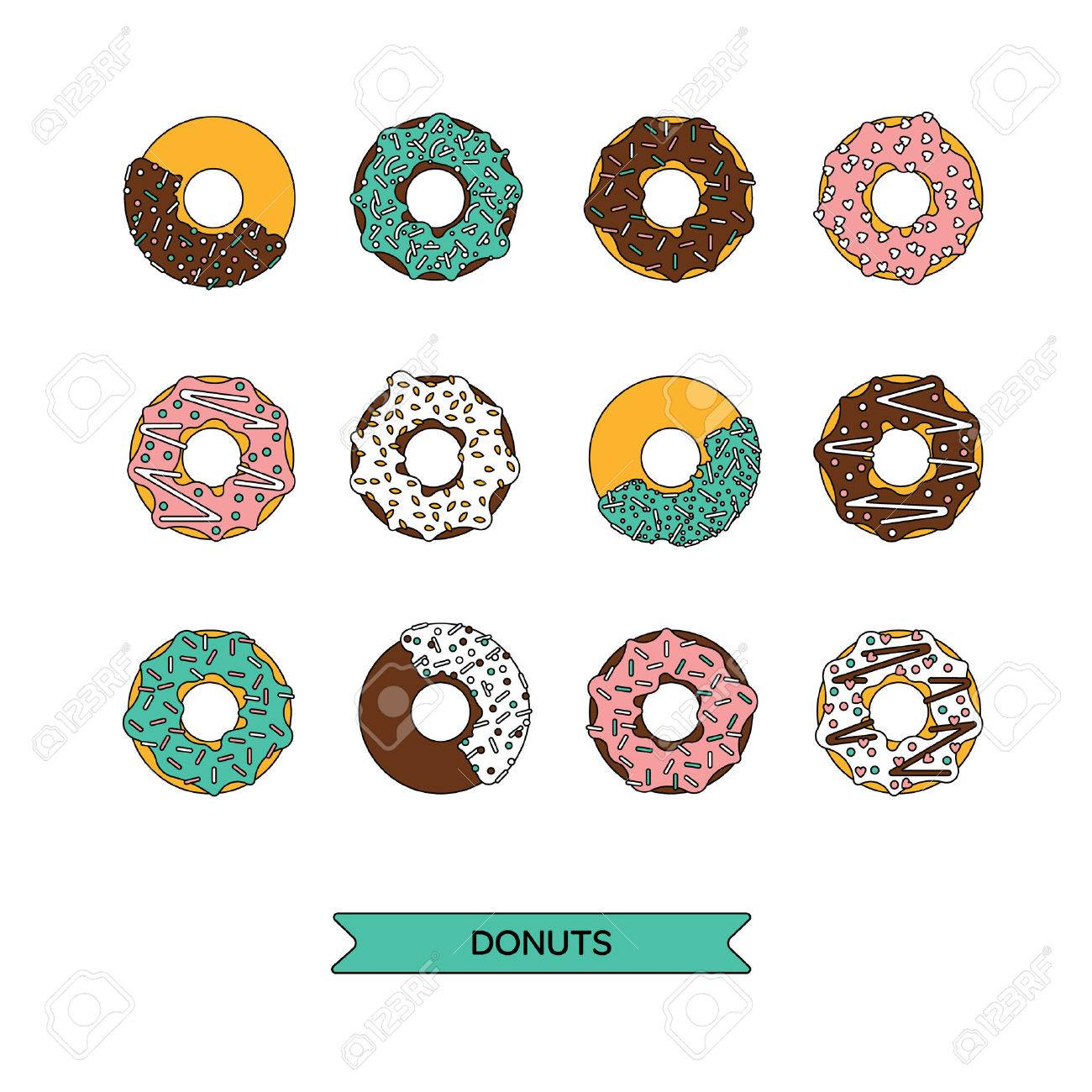 Vector donut illustration. Donut isolated on a white background. Deserts food in a flat style. Set of sweet donuts with frosting and caramel topping. Donuts icons. Donut isolated. - 51374040
