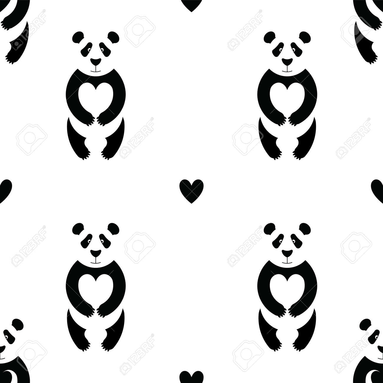 Patrón De Panda En Estilo Plano. Sin Costura Patterneasy Recolorear ...