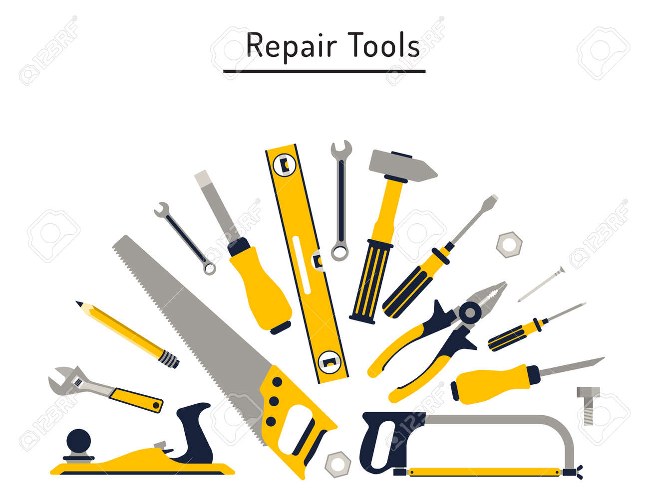 Construction repair tools flat icon set. Tools like hammer, axe, ruler, hatchet home repair. Isolated tools flat set. - 55724564