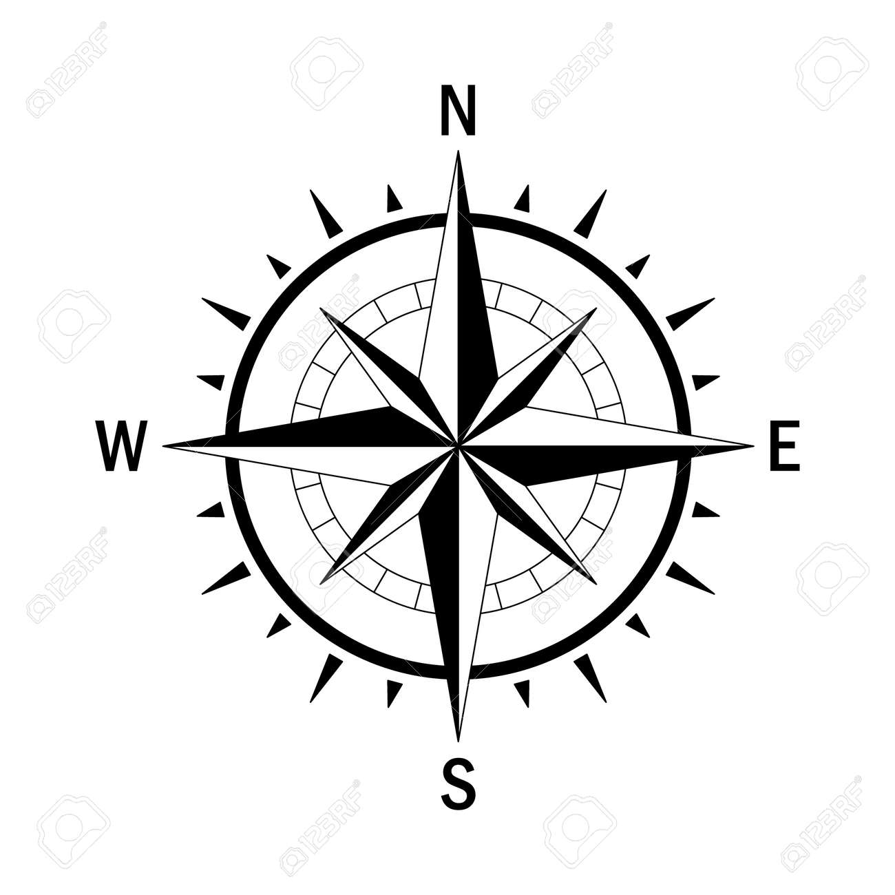 Vector compass. Vector geo mark Wind Rose. Isolated vector compass. Rose Wind in lineal style. Image of Compass for Columbus Day. Vector marine wind rose for travel, navigation design. - 55926973