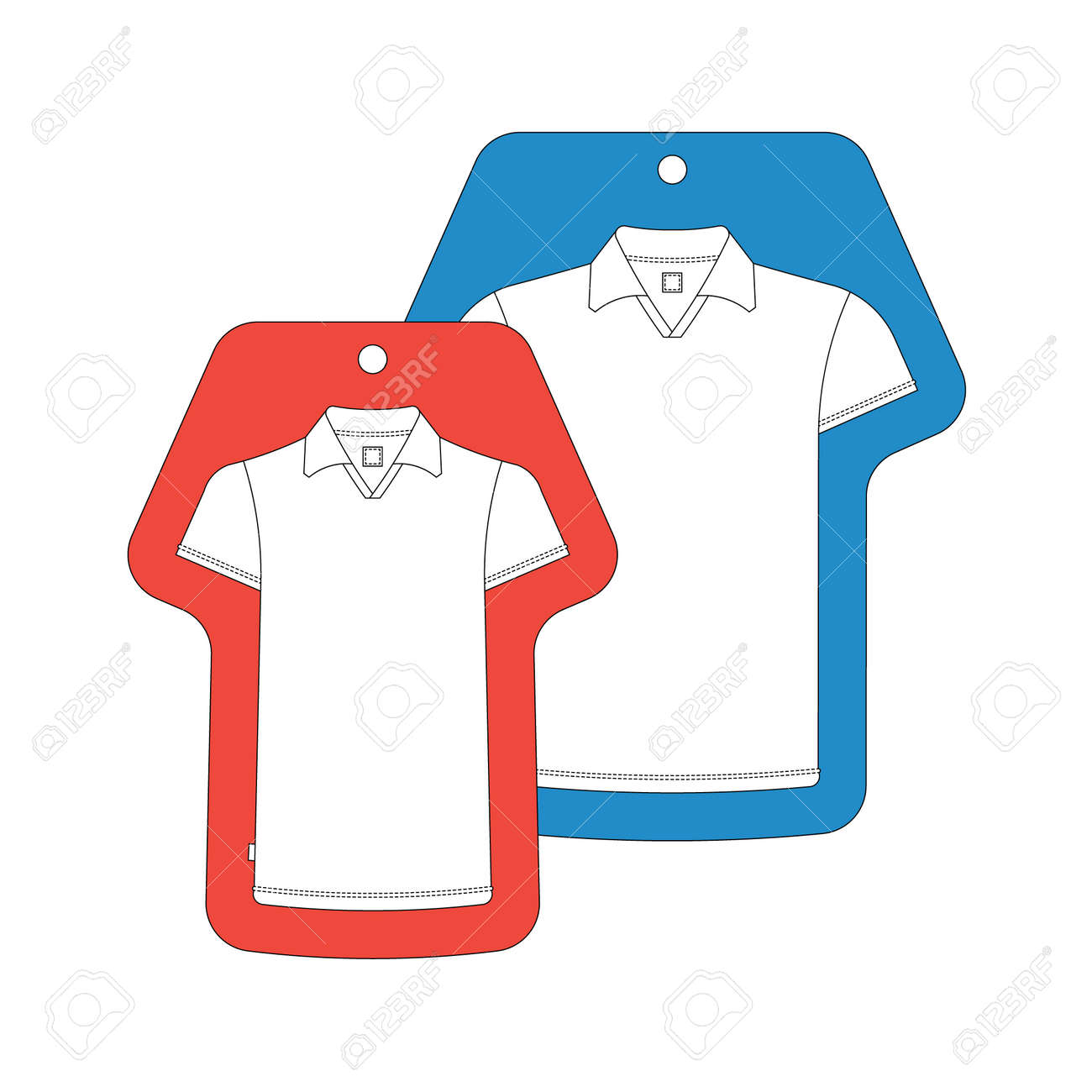 T-Shirt-Vorlage-Tag. Vector T-shirts Tags Auf Weißem Isoliert ...