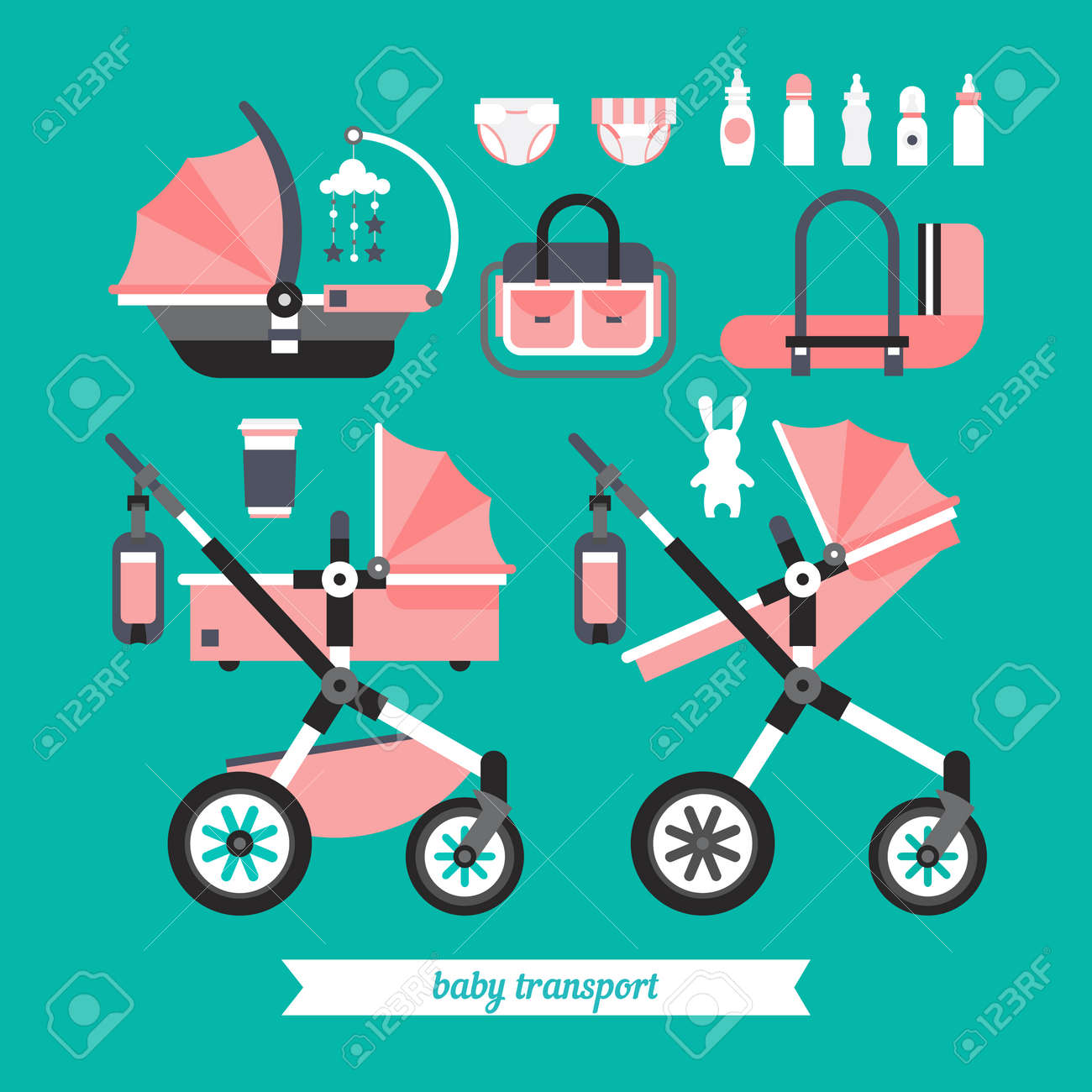 more photos 0053d 6ed7a Transportation baby stuff. Vector baby transport set. Baby stroller..