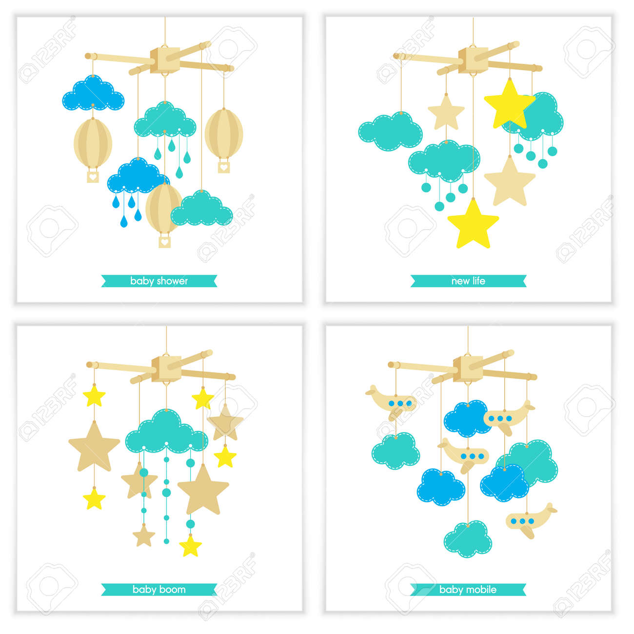 newborn card illustration of baby mobile stars clouds airplanes