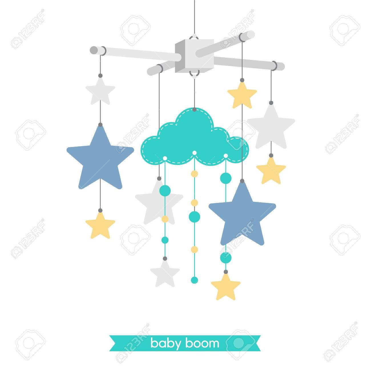 Neugeborene Karte Illustration Von Baby Handy Sterne Und Wolken