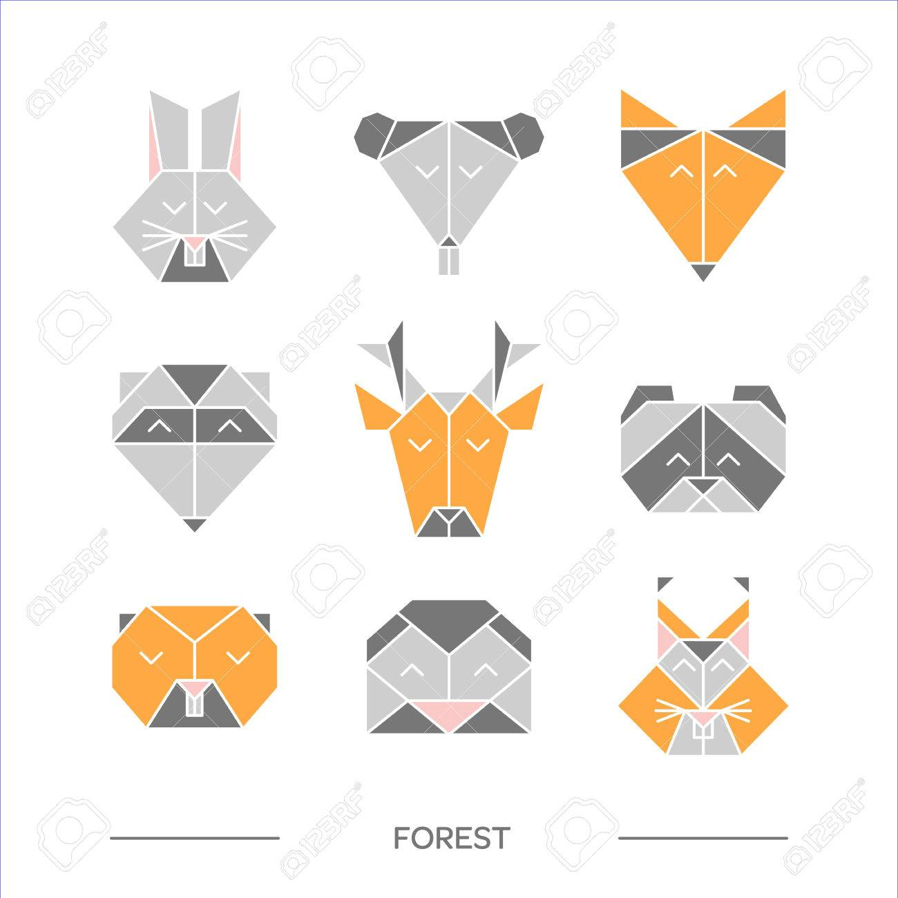 Flat Origami Animals Geometric Line Design Icon Set Vector For Tattoo Or