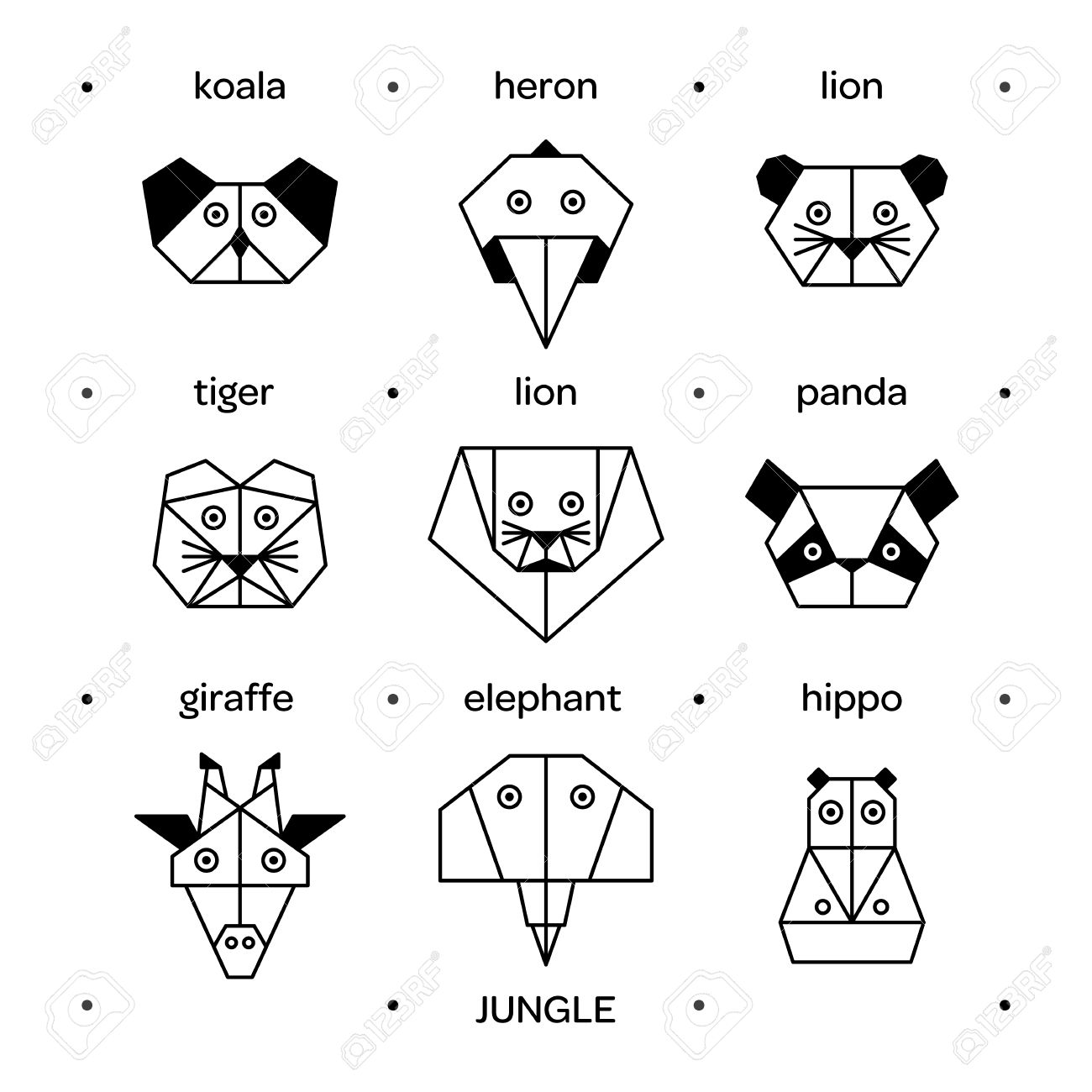 Stylized Vector Animals Animal Triangle Heads Origami Geometric Line Design Icon