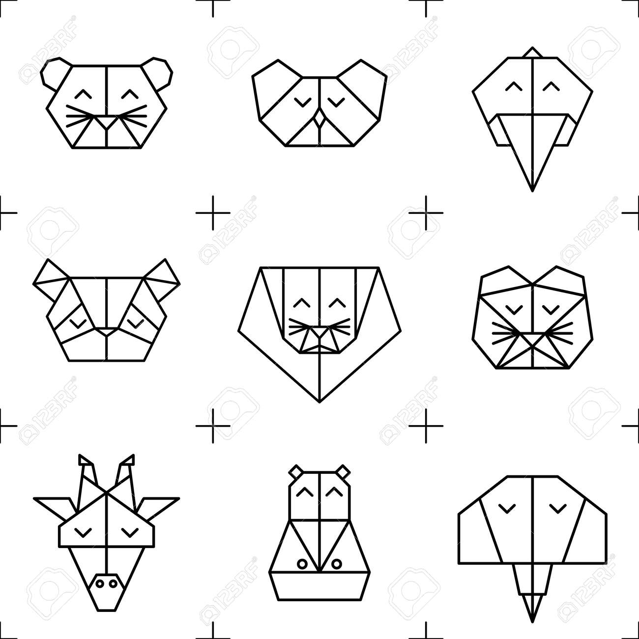 Polygonal Seamless Pattern With Animal Heads Animas Triangle Background Low Poly