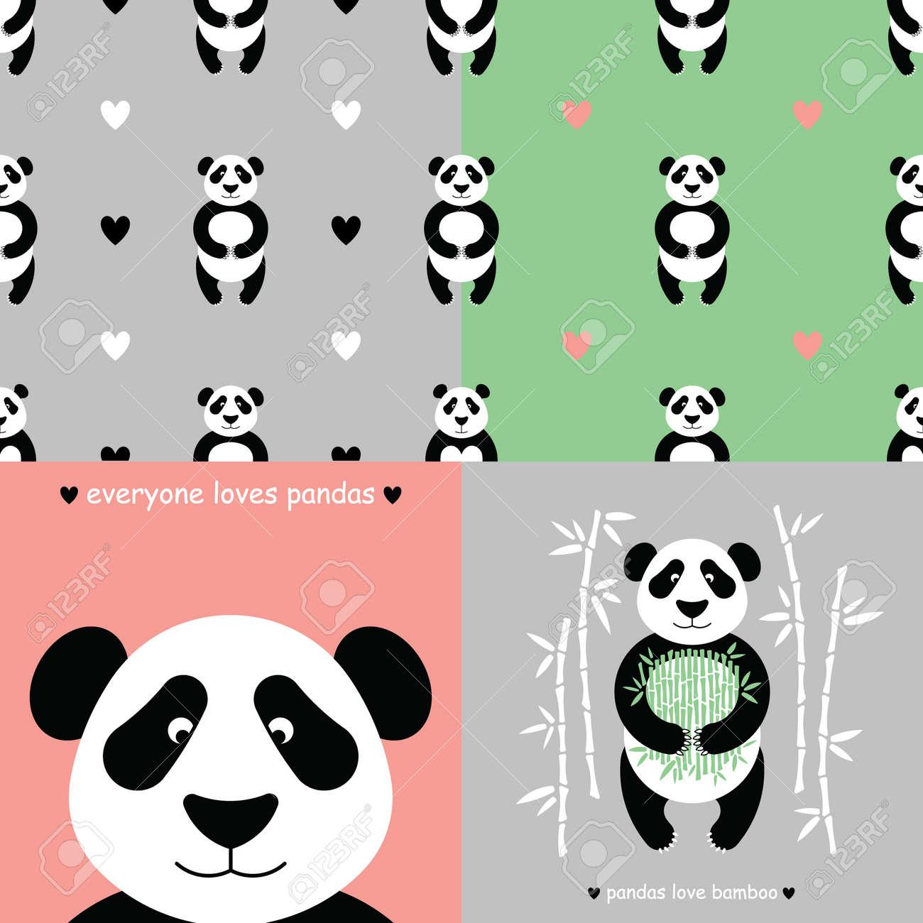 Panda Bear Set Vector Flat Panda Cute Cartoon Panda Cartoon
