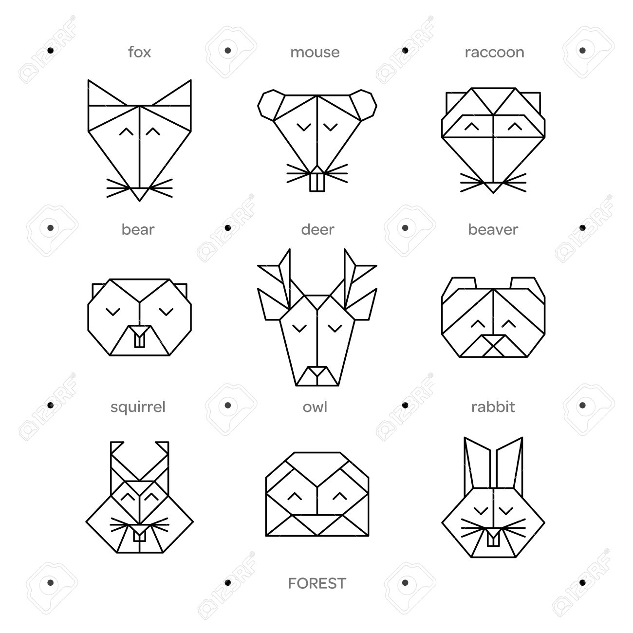 Origami Vector Animals Set Animal Triangle Heads Geometric Line Design