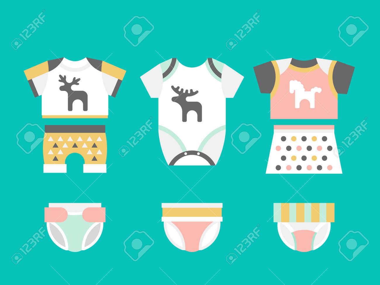 Vector Babykleidung. Baby-T-Shirt, Shorts, Slips, Windeln Flache ...