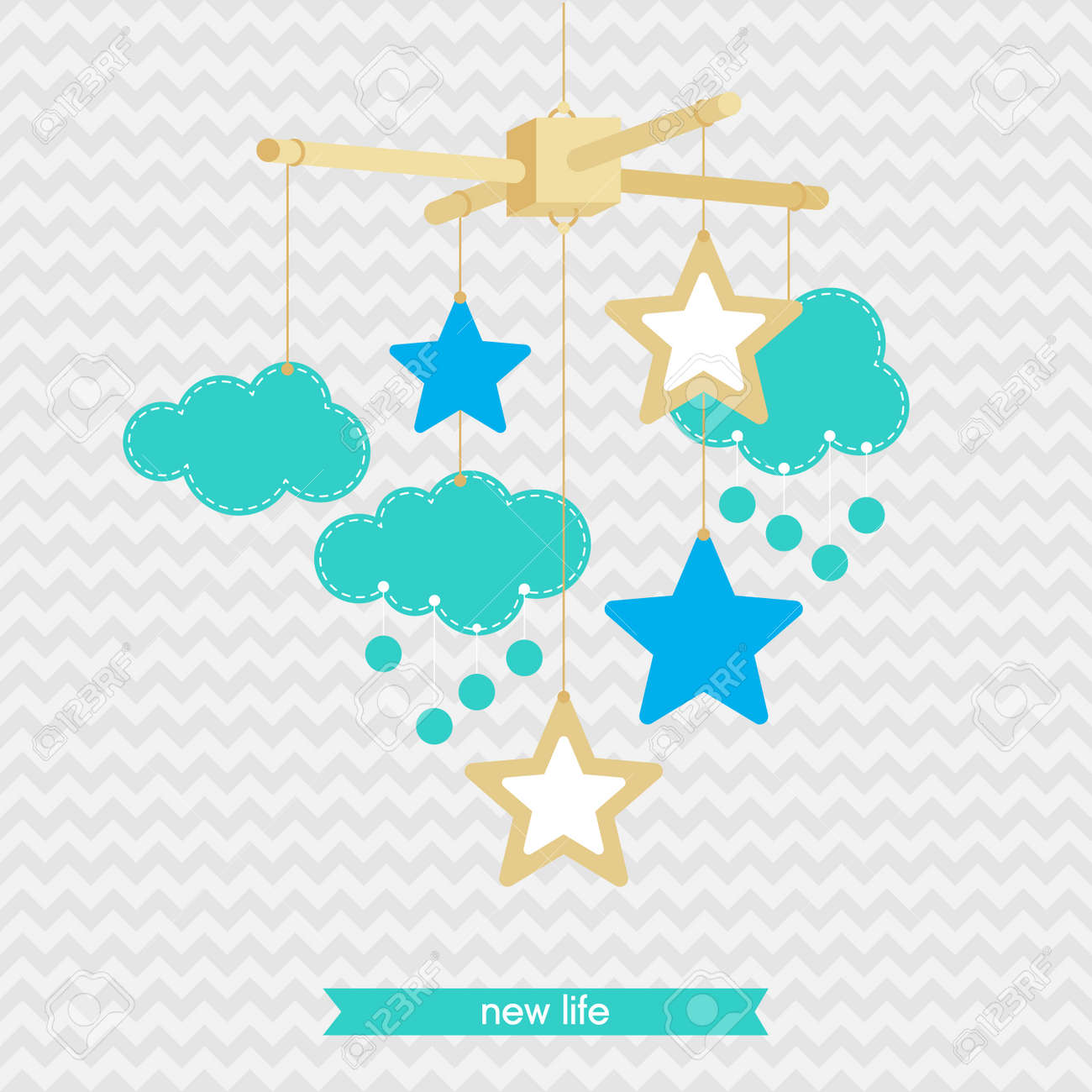 Baby shower invitation template illustration of baby mobile baby shower invitation template illustration of baby mobile stars and clouds isolated stopboris Image collections