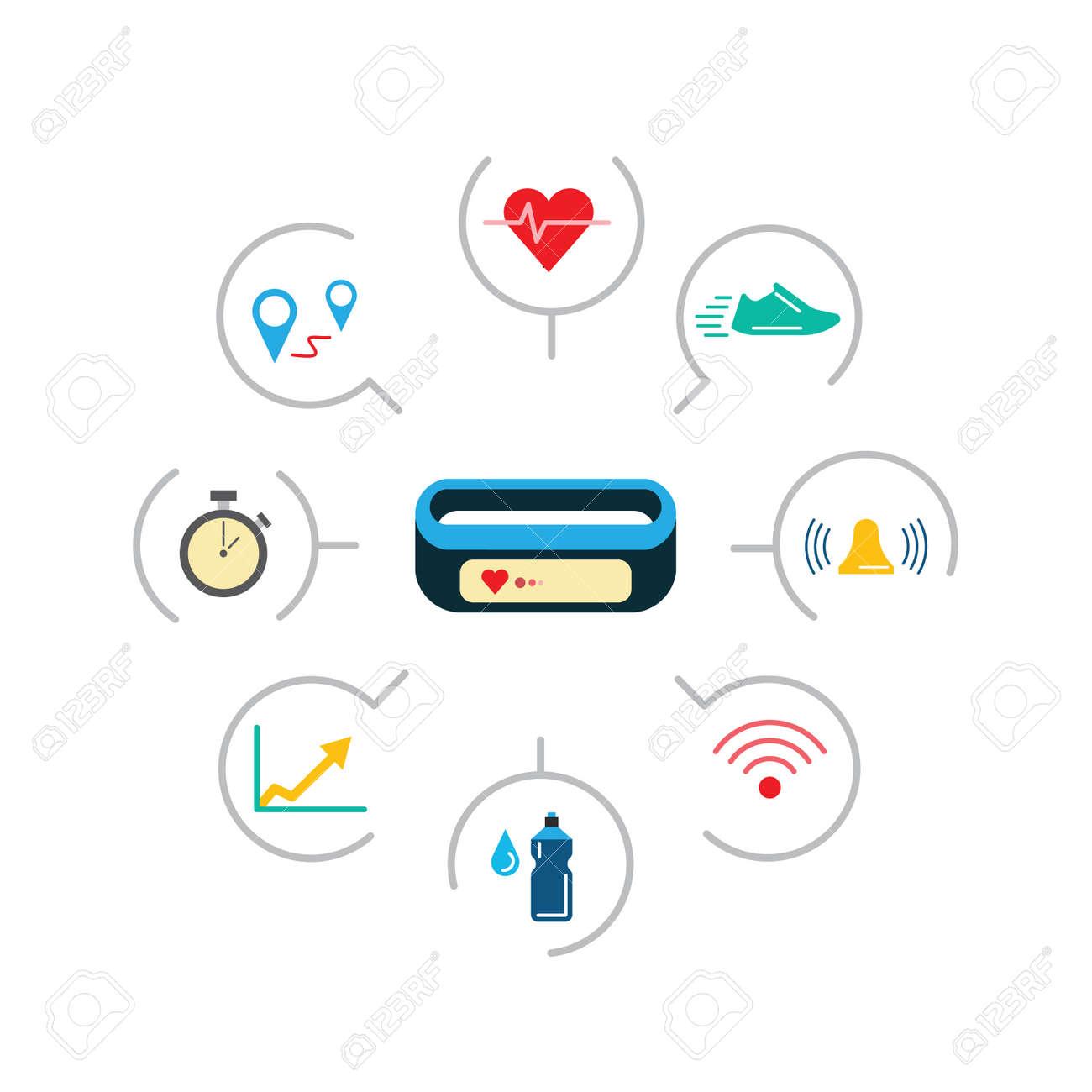 set of icons fitness bracelet fitness tracker pedometer fitness