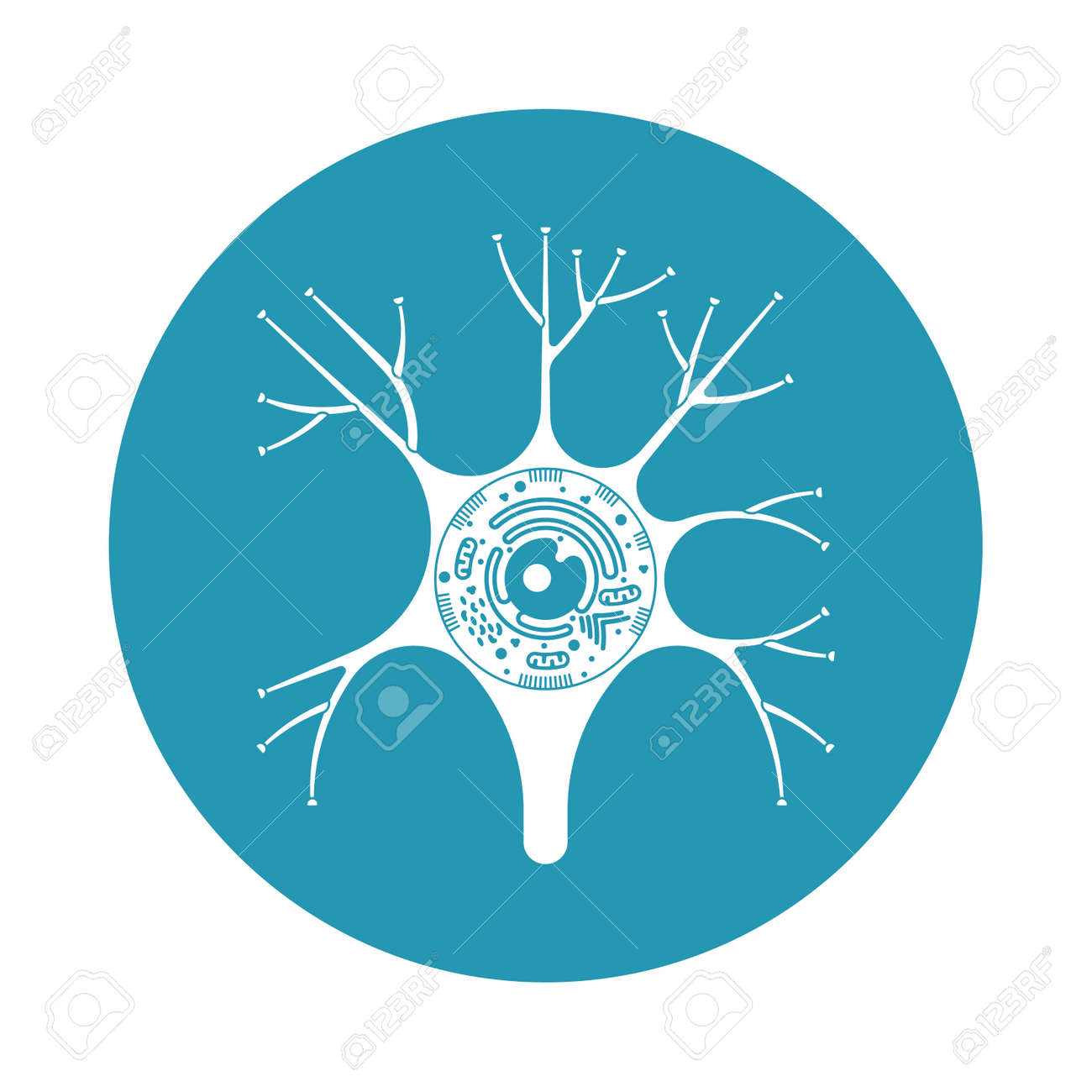 Isolated Neurone Cell Biology Icon. Neurone Cell Anatomy Structure ...