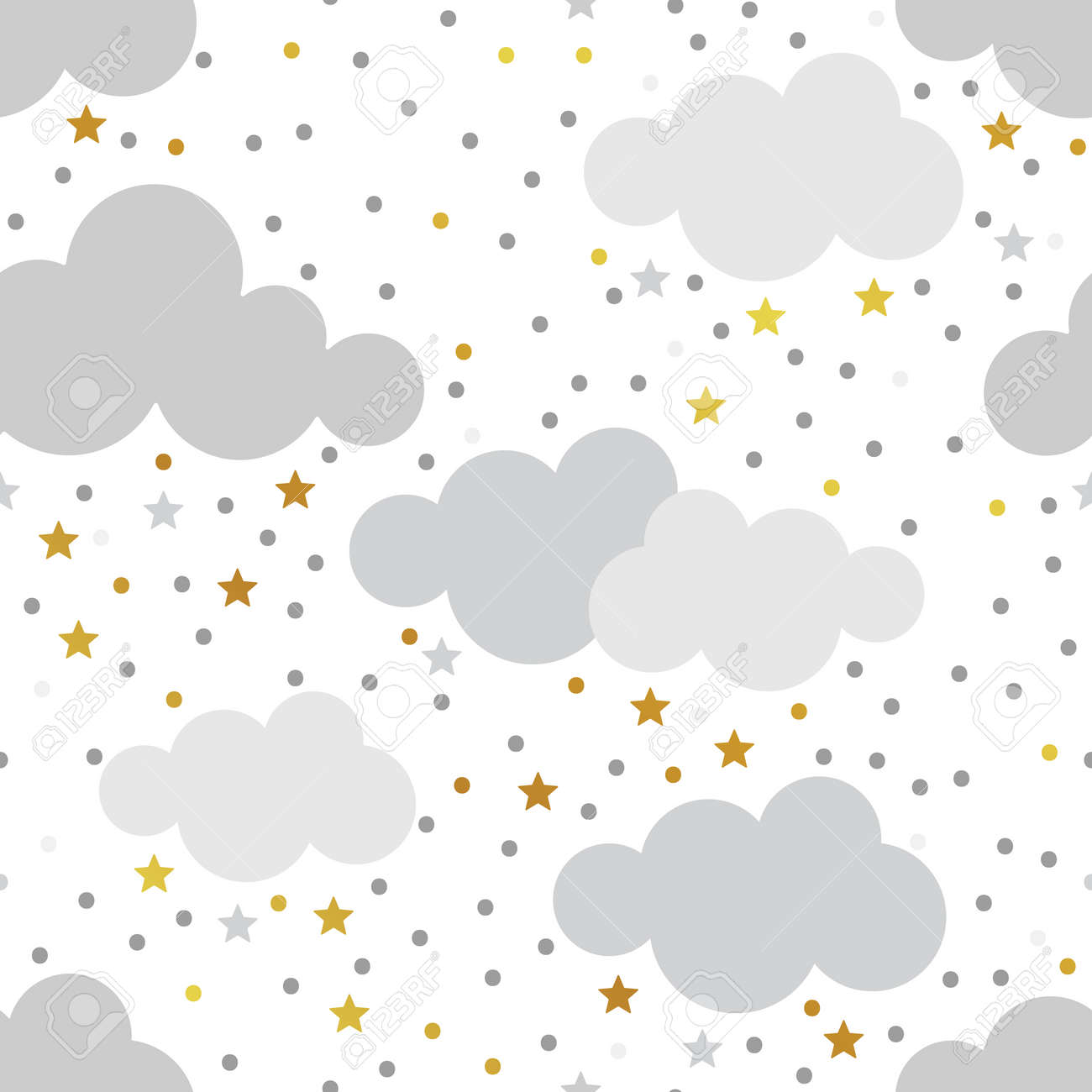 Scandinavian Seamless Pattern Set Gold Monochrome Patterns Kids Background Vector Baby