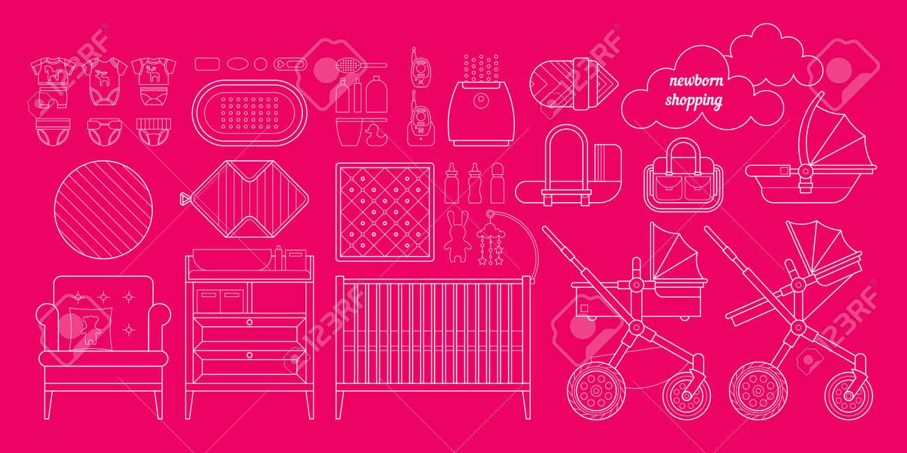 Lista De Cosas Para Bebes Recien Nacidos.Datos Basicos Del Recien Nacido Lista De Compras Vector Cosas De Bebe Para Un Recien Nacido Las Compras Del Plan Para Un Recien Nacido Bebe Comprar