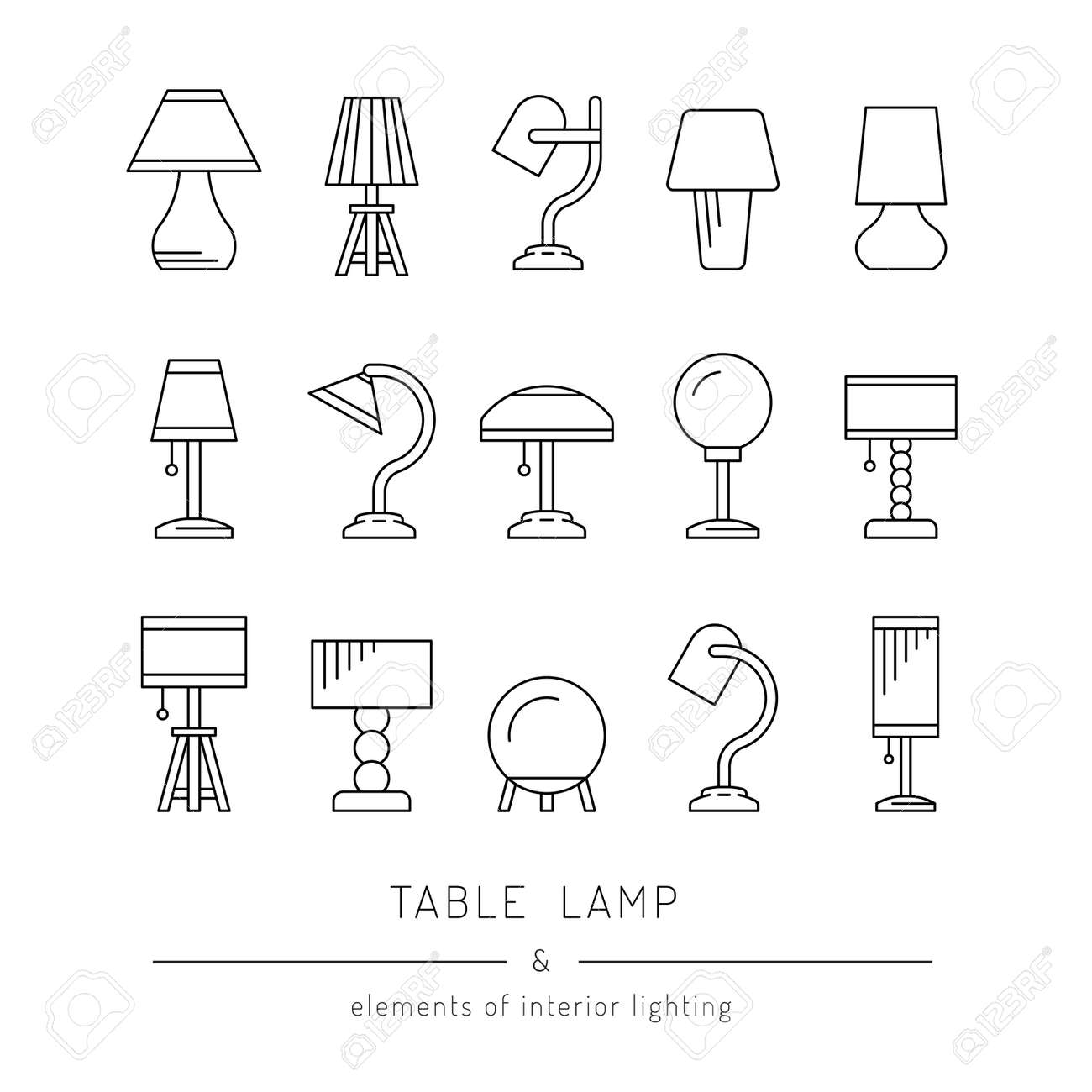 The Set Of Elements Of Lighting Design Table Lamps Of Various