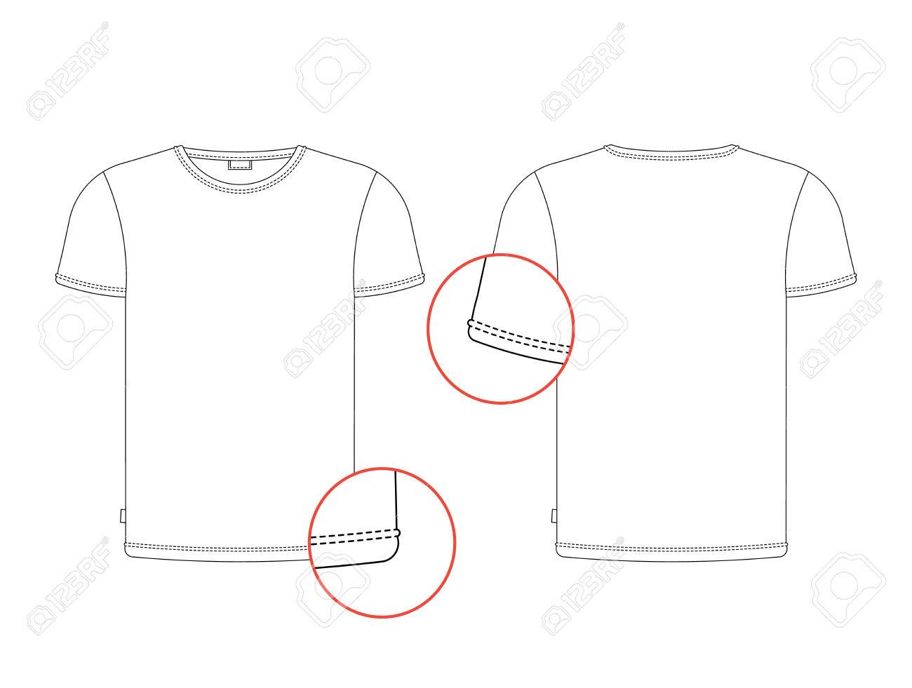 Vector T Shirt Template Front Back View Isolated