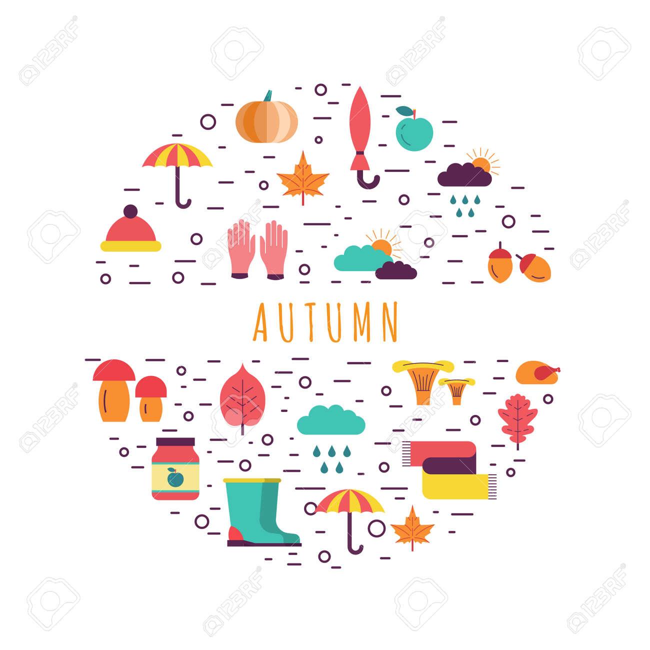 Vorlage Zum Thema Herbst Hintergrund Besteht, Die Elemente Als ...
