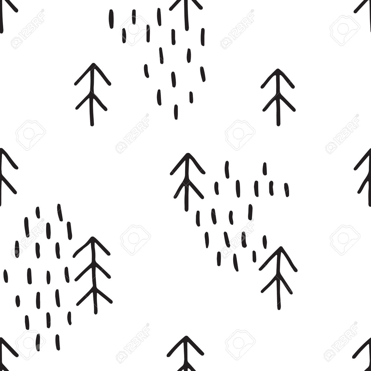 Seamless fir tree scandinavian pattern textile background wrapping - Scandinavian Pattern With Fir Trees Seamless Winter Patterns Hand Drawn In Black Ink
