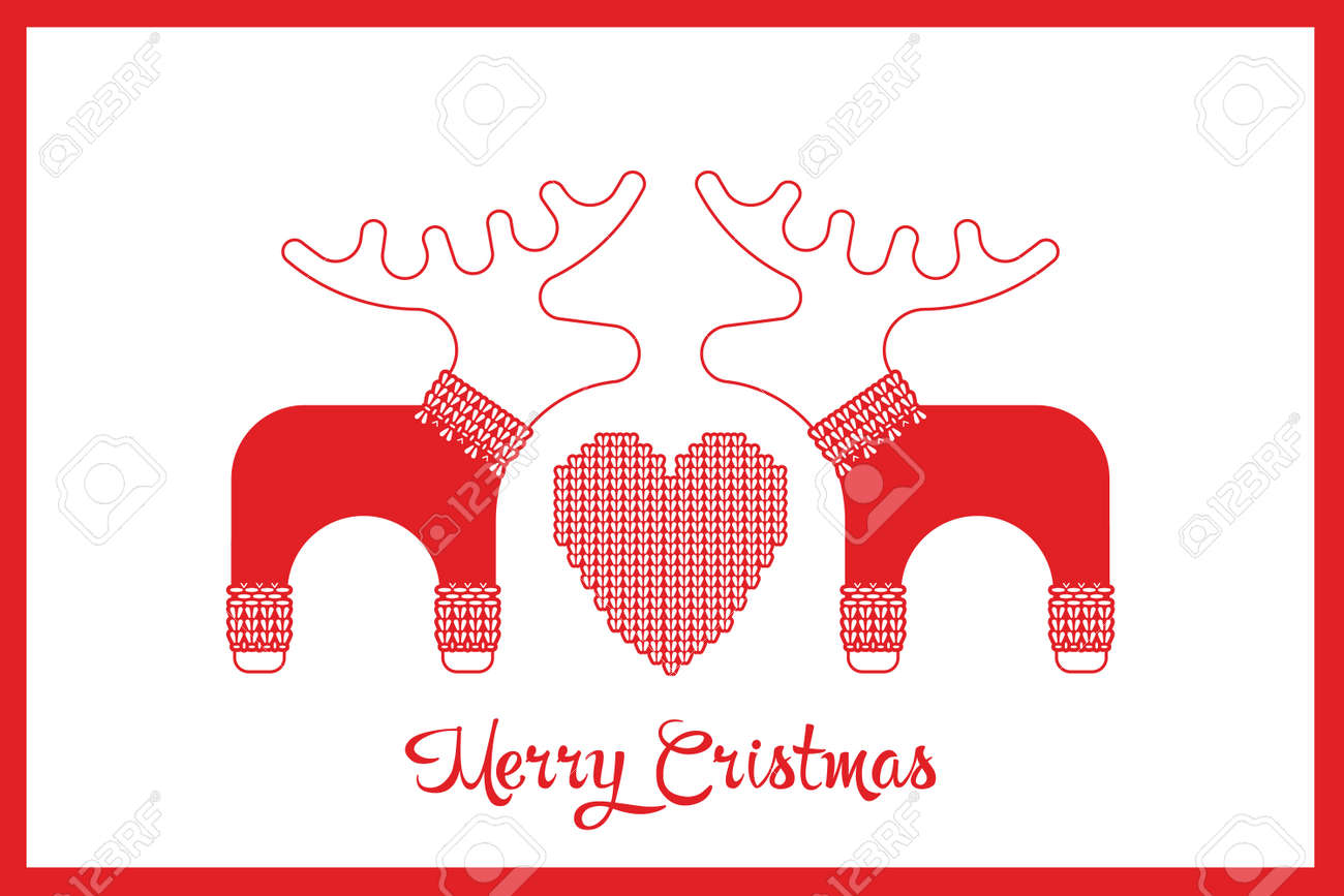 f9988ffd1b658e Vector - Vector xmas cute greeting card with adorable reindeer and elk in knitted  sweaters. Xmas card with a wish a Merry Christmas.