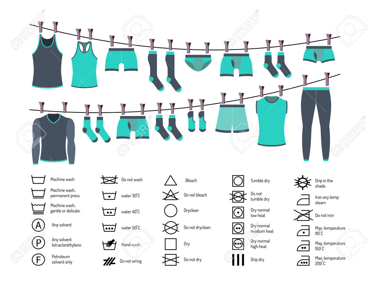 icons set of instructions for washing clothes manual washing