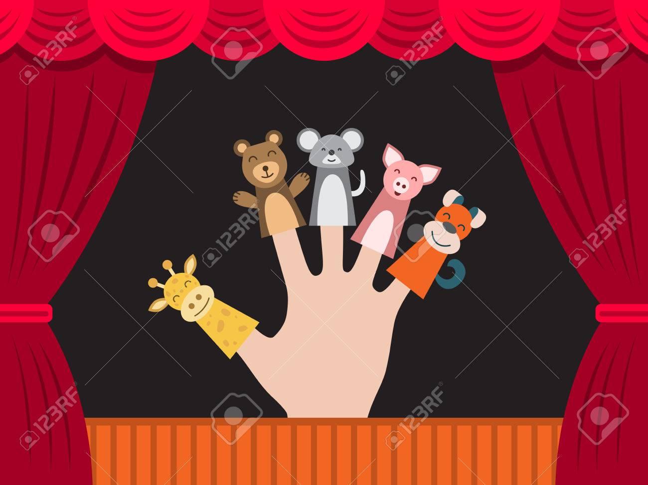 Teatro Para AnimalesLa Llevando En Dedos Todo Se Representa Títeres El De Juguetes Y Los Está Mano Muñeca Humana dxeCBo