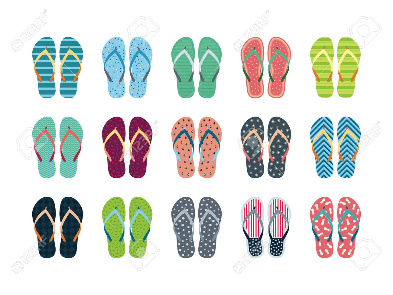 3f9a239223df7 Summer flip flops set isolated on white background. Flip flops with  different designs drawn in