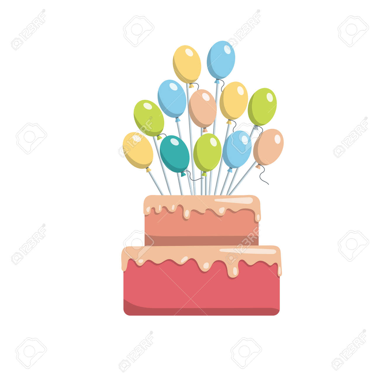 Great Birthday Cake Topper For A Vector Image Of Happy Isolated