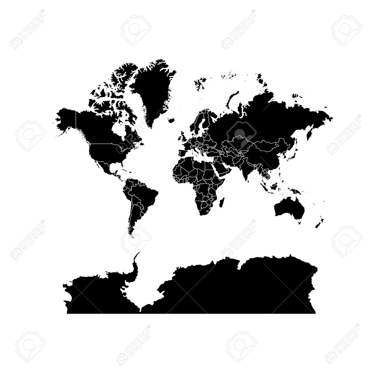 Flat World Map Vector.Black World Map Political Isolated On White Background Worldmap
