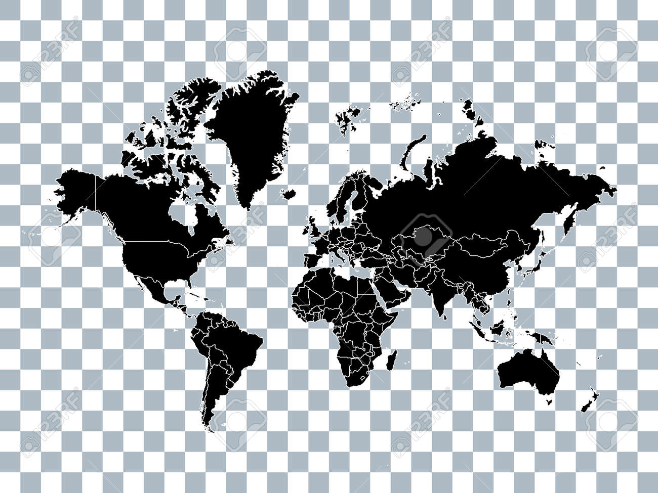 world map with political borders isolated on transparent background stock vector 82081247