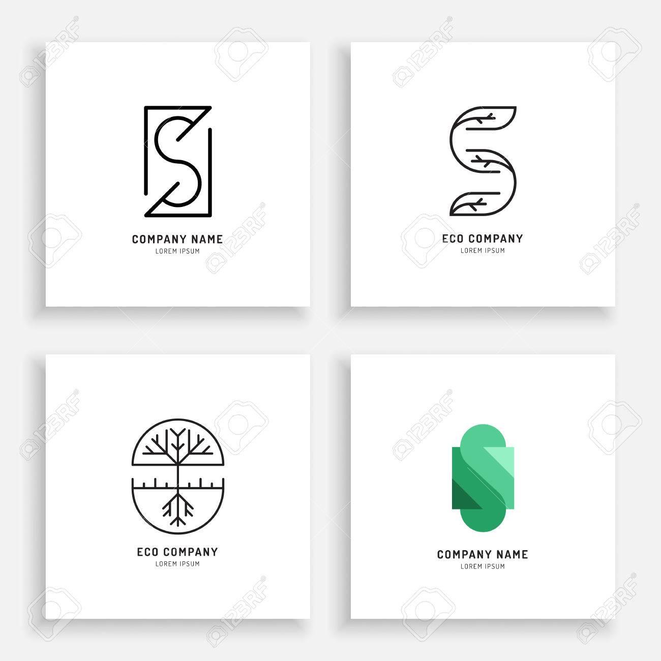 Vector Set Abstract Green Tree Logo Design Templates Outline - Logo creator templates