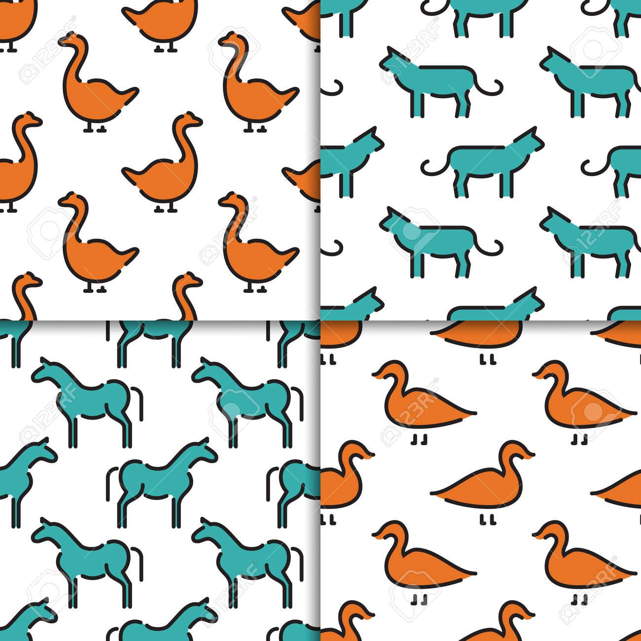 Conjunto De Patrones Sin Fisuras Vector Con Animales Y Niños ...
