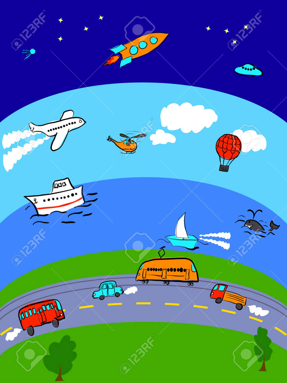 Different transport for land, sea, air and space Stock Vector - 13213308