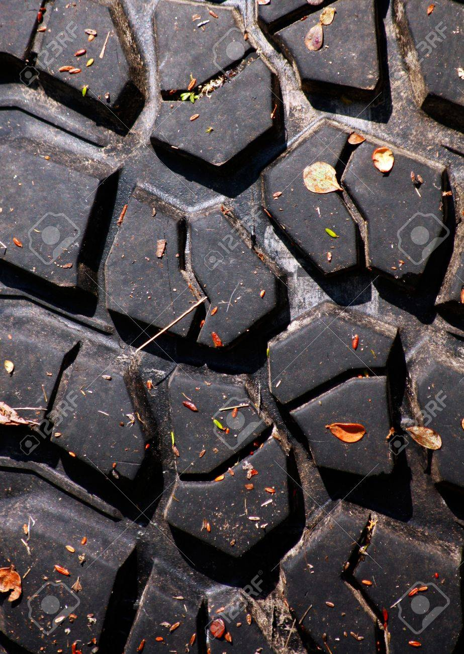 Texture of tread of tyre with autumn leaves Stock Photo - 14200032