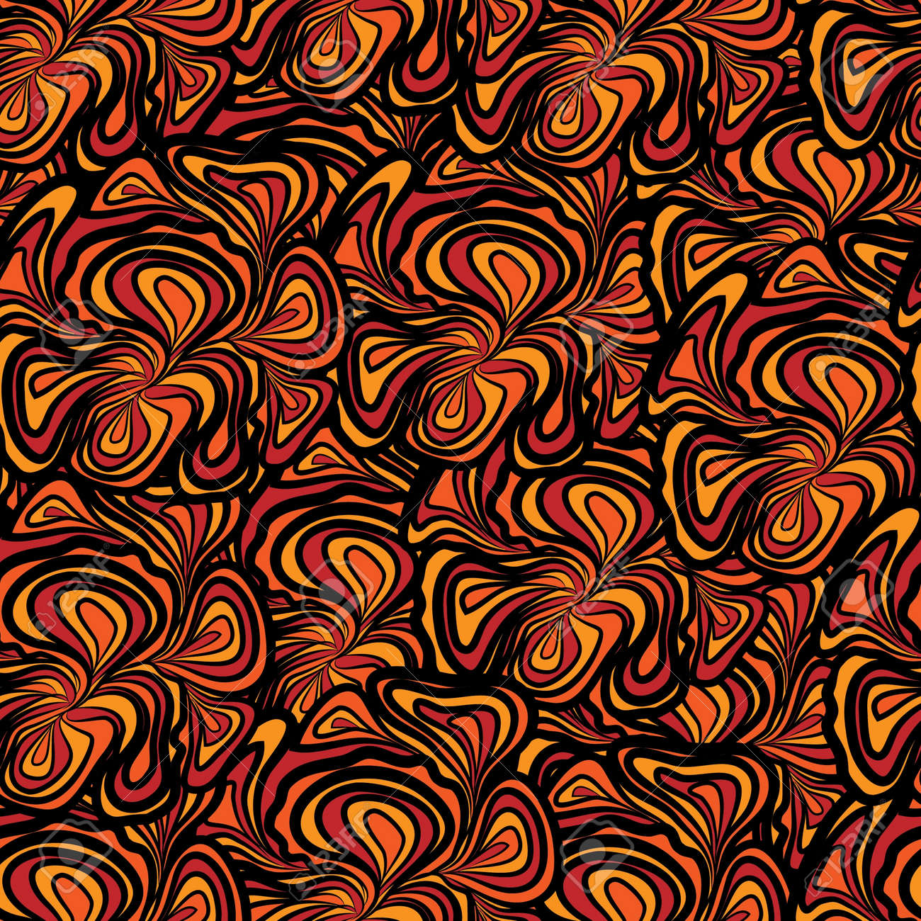 Abstract Seamless Pattern With Orange Black Floral Design Pattern