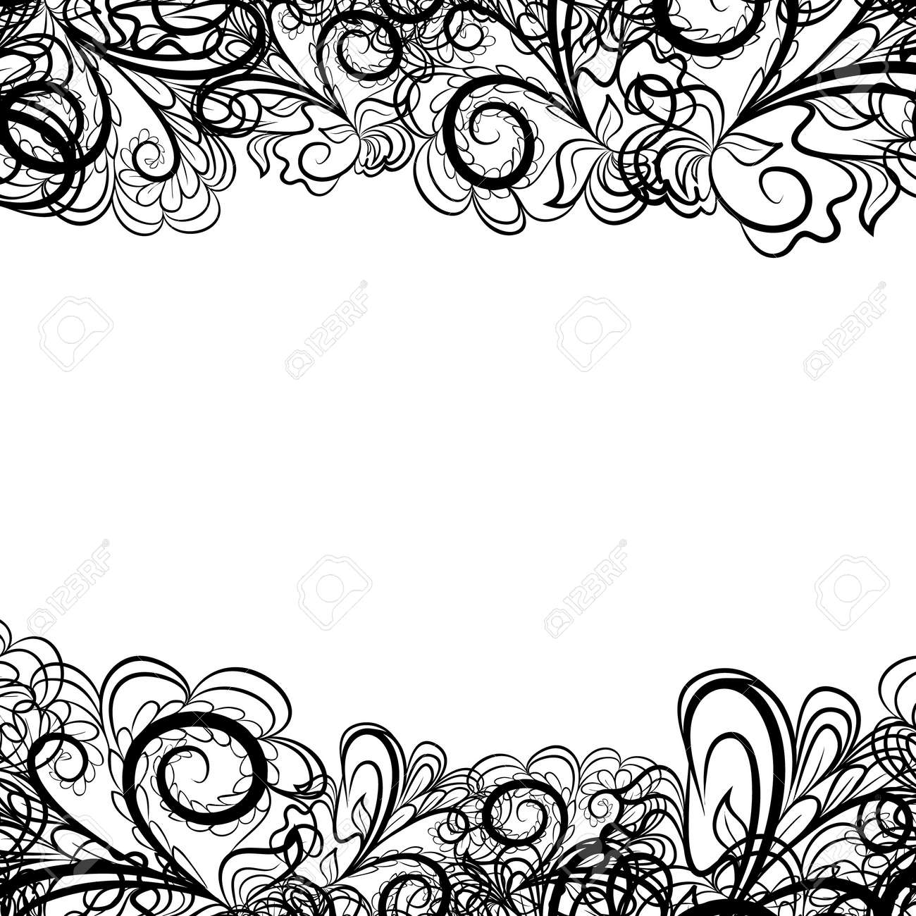 abstract black border like as lace against the white background rh 123rf com black lace border vector free lace border vector png